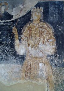 Medieval Ruler Despots Mikhail  fresco at Dolna Kamenica, Bulgaria